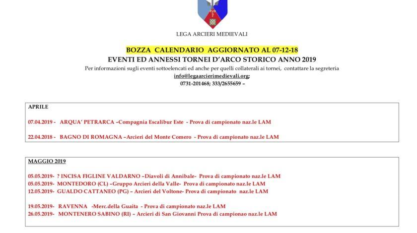 Calendario Fitarco.Calendario Provvisorio Lam 2019 Arcatores Militiarum Urbis